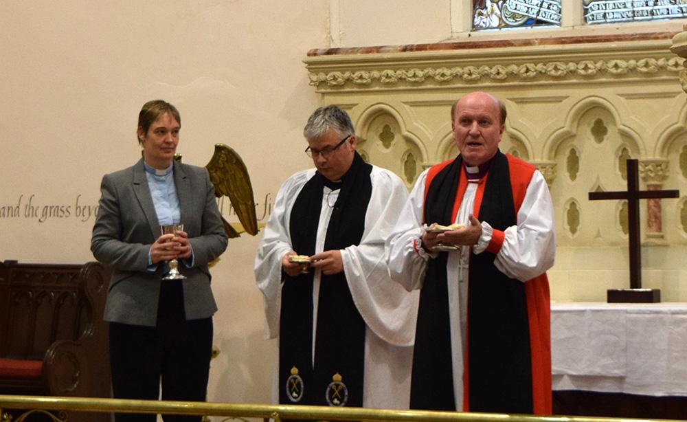 Rev Tanya Woods, Archdeacon Isaac Hanna, Bishop Ferran 1